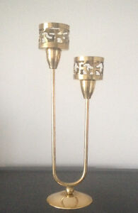 Vintage brass- 1small jug& 1double candle holder