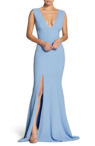 GOWN FOR RENT - Sandra Plunge Crepe Trumpet Gown, color blue