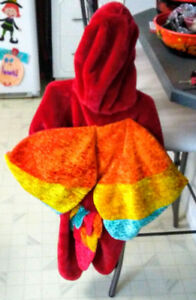 Red fluffy parrot costume