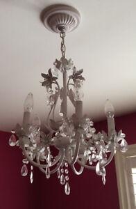 Vintage tole floral crystal chandelier