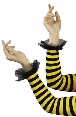 Armstulpen Handschuhe Biene Tier Hummel Horniße Kostüm Kleid Streifen Damen