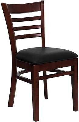 Mahogany Wood Finished Ladder Back Restaurant Chair With Black Vinyl Seat