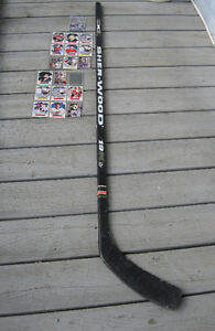 HOCKEY STICK AND CARDS