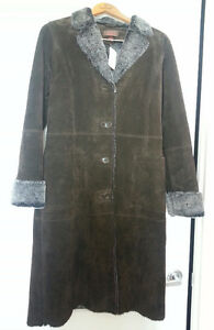 New With Tags Danier Women's Genuine Suede Full Length Coat
