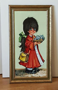 MICHEL THOMAS Oil Painting (France) - Big Eyed Girl with Flowers