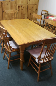 Oak table and pressback chairs