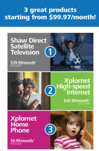 HIGH SPEED INTERNET, SHAW DIRECT TV AND PHONE - 99.97/MONTH