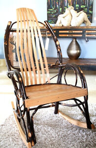 RUSTIC AMISH ROCKING CHAIR, TWIG FURNITURE, HICKORY & OAK WOOD