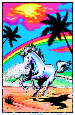 Galloping Unicorn with Rainbow Flocked Blacklight Poster Art Print, 24x36