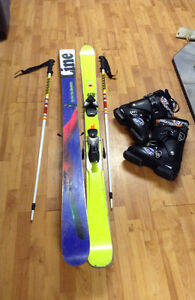 Line skis, Boots, Poles