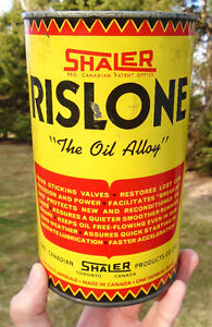 """Vintage 1960's SHALER RISLONE """"The Oil Alloy"""" Imperial Quart Can"""
