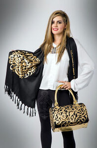 Matching Arabic Art Scarfs and Purses for Sale