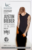 V.I.P & REGULAR TICKETS FOR JUSTIN BIEBER @ BEACH CLUB !!