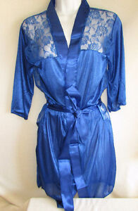 Blue Lace Satin Short Robe Thong Set - Small - NEW