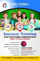Summer Tutoring (School stops for summer, learning never should)