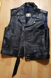 Bull Leather Motorcycle Vest - Brand New