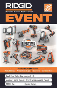 Ridgid Event - Brampton West - August 18, 2018