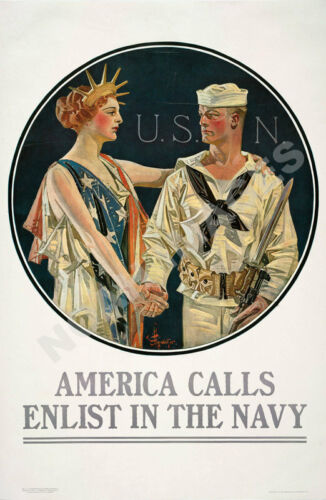 America Calss Enlist in the Navy vintage recruitment poster 16x24