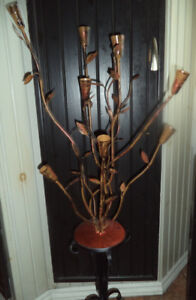 One of a kind hand made metal candleabra 8 holders $80