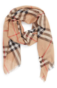 100% Authentic BURBERRY Giant Check Print Scarf, Camel Gold, New