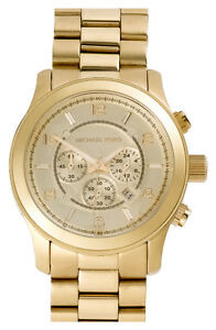 MICHAEL KORS Over Sized Gold Plated Runway Watch
