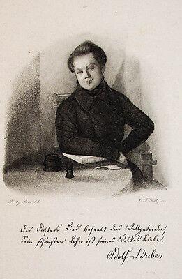 c1850 Bube Adolf Dichter Gotha Kupferstich-Porträt Ratz Ries
