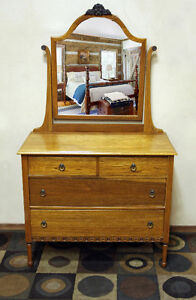 SUPERB Early 1900's PERFECT Mirrored Dresser  SEE VIDEO