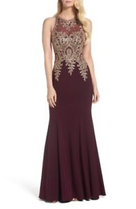 Xscape Embroidered Mermaid Gown (wine colour,size4)