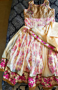 New, Cream Floral Anarkali