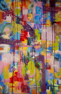 NEW~Abstract Painting by Oakville artist Valerie Koudelka / SINGAPORE~Original Acrylic on canvas BUY CANADIAN ART