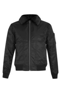 TOPMAN Men Aviator Jacket with Removable Faux Fur Collar Black M