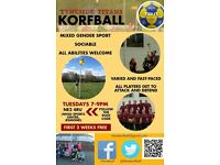 KORFBALL - try a new mixed sex team sport! First 2 sessions FREE at Tyneside Titans Korfball Club