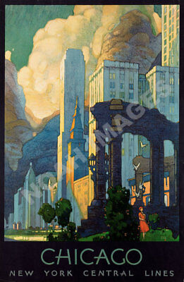 Chicago New York Central Line vintage train travel poster repro 16x24