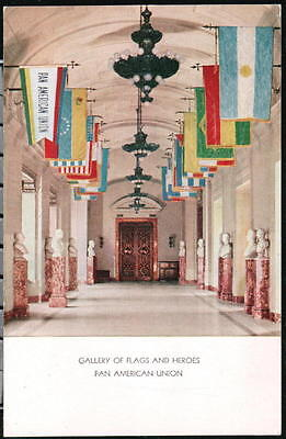 WASHINGTON DC Pan Am American Union Flags & Heroes Gallery Vintage Postcard WASH ()