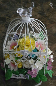 Sugar flowers in bird cage, perfect gift for any occasion