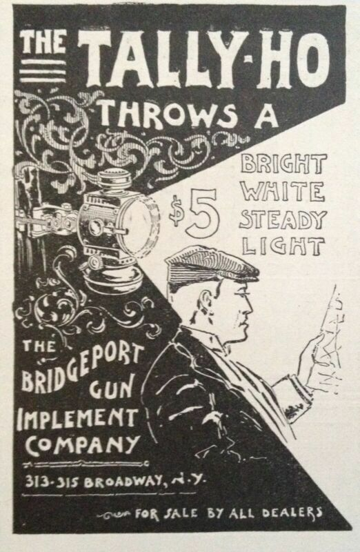 1897 AD.(1800-3)~BRIDGEPORT GUN IMPLEMENT CO. THE TALLY-HO CYCLE LAMP