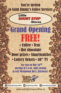 Saint Jimmy's Grand Opening FREE COFFEE AND PRIZES