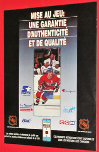 FRENCH 1990 MISE AU JEU HOCKEY BETTING GAME AD - ANONCE RETRO
