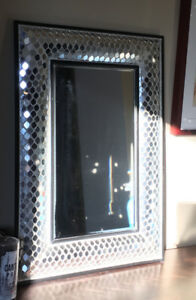 Mirror with cut glass frame