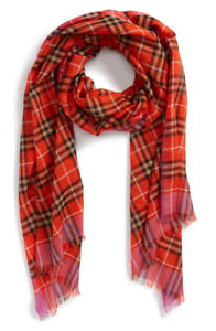 **New**Burberry Border Vintage Check Wool & Silk Scarf