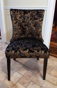 2 Hallway/Lobby Accent Chairs - Black/Gold Velvet Pattern