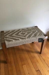 New Woven Wood Boho Bench