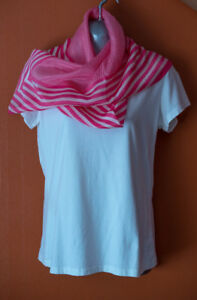 HONEY - Pink striped 100% Silk Scarf, 31 x 31 inches square