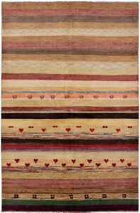 Striped Rug with Cute Hearts