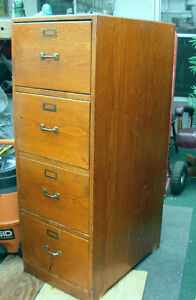 RARE LEGAL SIZE ANTIQUE WOOD FILE FILING CABINET 1930s-40s