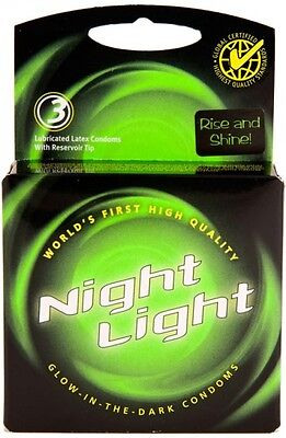 Night Light Glow In The Dark Condoms Retail Box - 3 Pack - Glow In Dark Light