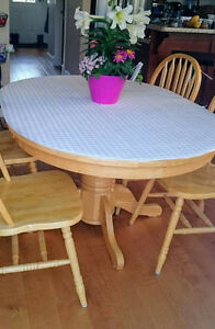 All Wood Dining Table with 4 Matching Wood Chairs