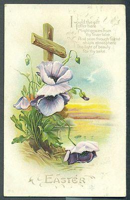 CLEMATIS VINE GROWS UP CROSS Grace for Thy Favor Easter Vintage 1913 Postcard ()