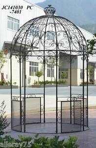 Black French Style Wrought Iron Arch Portico Garden Gazebo
