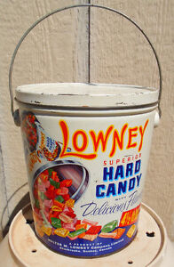 VINTAGE 1967s LOWNEY'S HARD CANDY (4 1/2 LB.) BI-LINGUAL TIN CAN